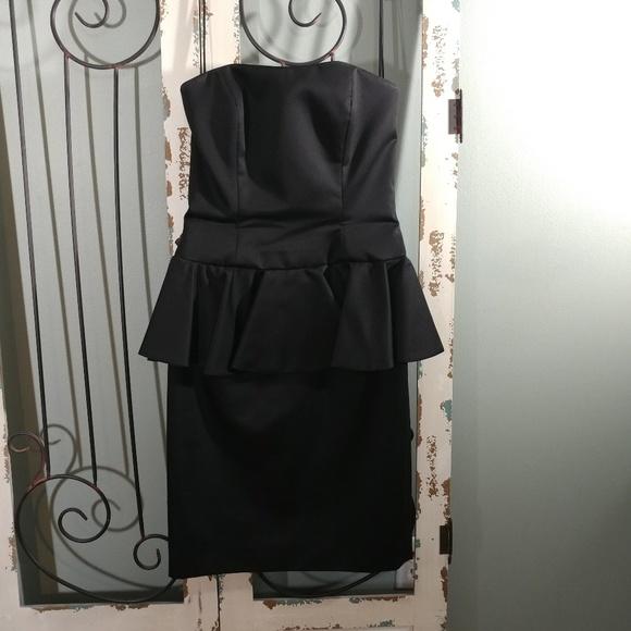 Aj Bari Dresses Aj Baro Formal Black Strapless Peplum Dress Size